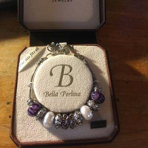 Bella Perlina Pandora #10016, Purple Silver White